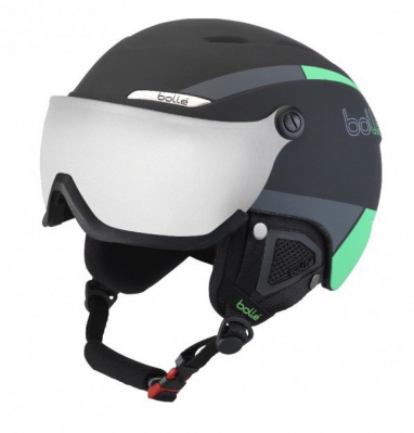 Lyžařská helma BOLLE B-YOND VISOR black and green with silver gun visor 2019